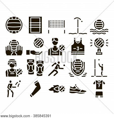 Volleyball Sport Game Glyph Set Vector Thin Line. Volleyball Ball In Water And Grid, Athlete Equipme