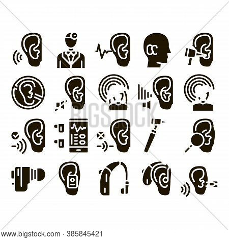 Hearing Human Sense Glyph Set Vector Thin Line. Hearing Aid Device And Earphone. Doctor And Medical