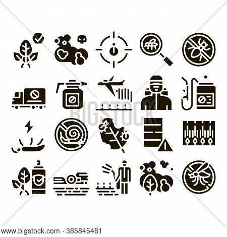 Pesticides Chemical Glyph Set Vector Thin Line. Pesticides For Agricultural Field Processing By Plan