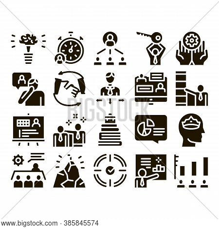 Mentor Relationship Glyph Set Vector Thin Line. Human Holding Key And Gear, Stopwatch And Mountain W