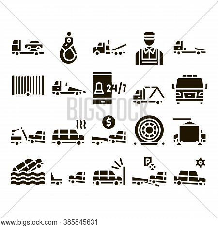 Tow Truck Transport Glyph Set Vector Thin Line. Tow Truck Evacuating And Transportation Broken Car,