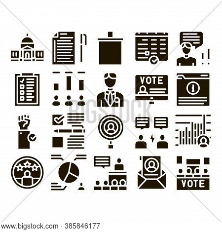 Voting And Election Glyph Set Vector Thin Line. Congress Building And Monitor, Calendar And Human Si
