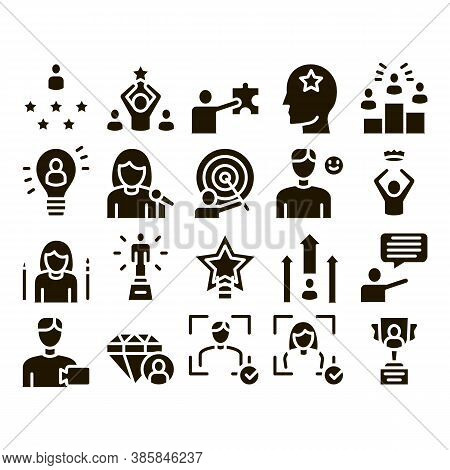 Human Talent Collection Elements Icons Set Vector Thin Line. Idea And Target, Diamond And Star, Sign