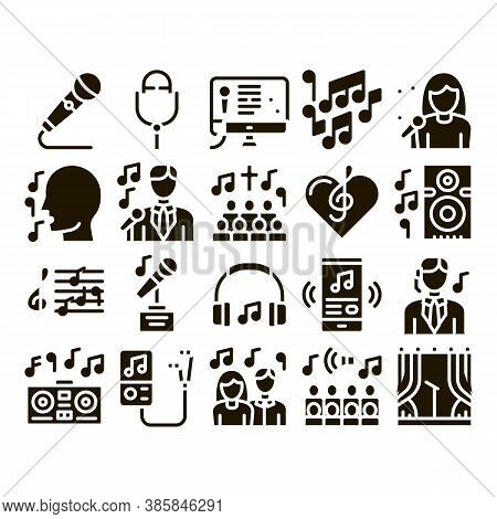 Singing Song Collection Elements Vector Icons Set. Singer And Musical Notes, Microphone And Headphon