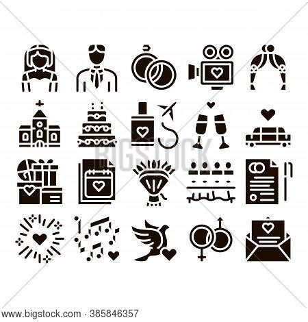 Wedding Glyph Icons Set Vector. Characters Bride And Groom, Rings And Limousine Wedding Elements Pic