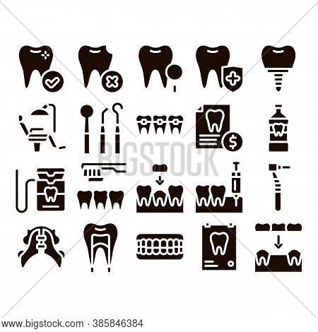 Stomatology Collection Glyph Icons Set Vector. Stomatology Dentist Equipment And Chair, Healthy And