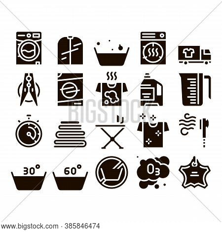 Laundry Service Glyph Icons Set Vector. Laundry Service, Washing Clothes Pictograms. Laundromat, Dry