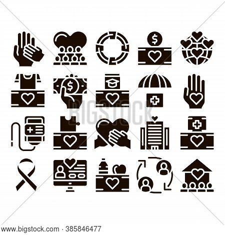Volunteers Support Glyph Icons Set Vector. Volunteers Support, Charitable Organizations Pictograms.