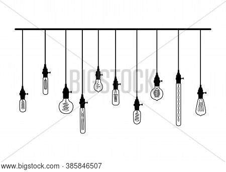 Hand Drawn Vector Set Of Different Geometric Loft Lamps With Yellow Glow.