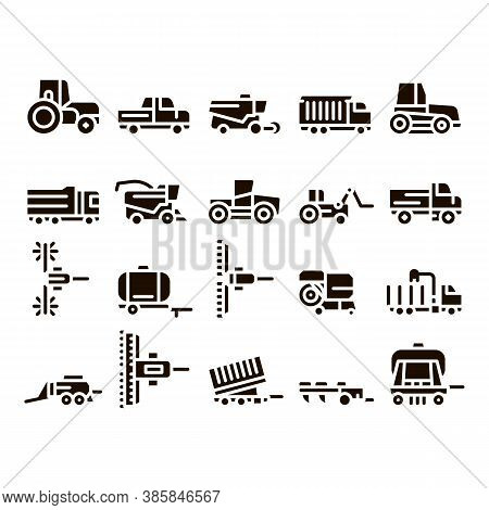Agricultural Vehicles Glyph Icons Set Vector. Agricultural Transport, Harvesting Machinery Pictogram