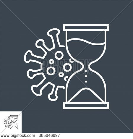 Incubation Period Related Vector Thin Line Icon. Incubation Time - Hourglass And Virus. Isolated On