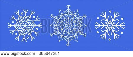 White Snowflake, Vector Lace Doily, Winter Decoration On A Blue Background. Set Of Three Design Elem