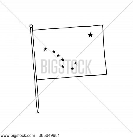 Alaska Flag Vector, Outline Illustration. Vector Black And White Alaska Flag.