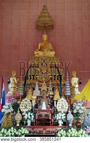 Nakhon Ratchasima, Thailand - 9 August 2020 : The Principal Buddha Image In The Uposatha Hall At Wat