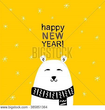 Vector New Year Card With Polar Bear. Happy New Year Poster. Polar Bear In A Scarf. Yellow Backgroun