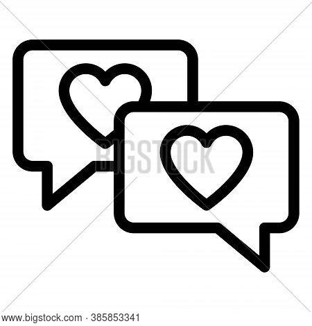 Heart In Speech Bubbles Icon. Love Chat Bubbles Illustration. Romantic Message, Dating Conversation