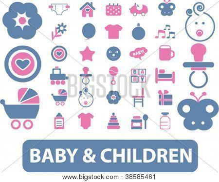 baby & children icons set, vector