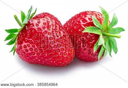 Two strawberries isolated on a white background.