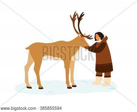 Smiling Eskimo Woman Hugging Reindeer Vector Flat Illustration. Female In Traditional Folk Costume S