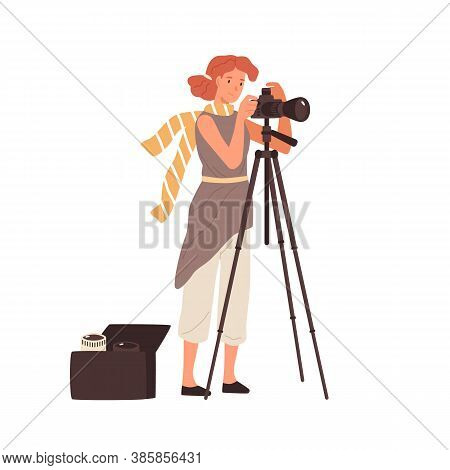 Woman Professional Photographer Take Photo Use Camera On Tripod Vector Flat Illustration. Female Pho