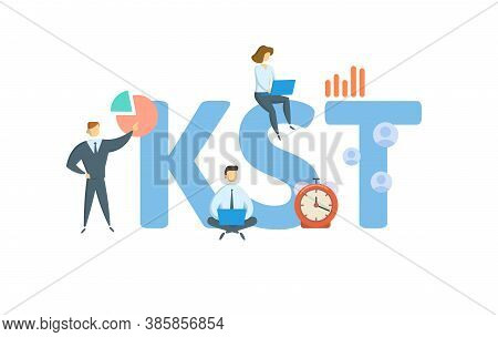 Kst, Know Sure Thing. Concept With Keyword, People And Icons. Flat Vector Illustration. Isolated On