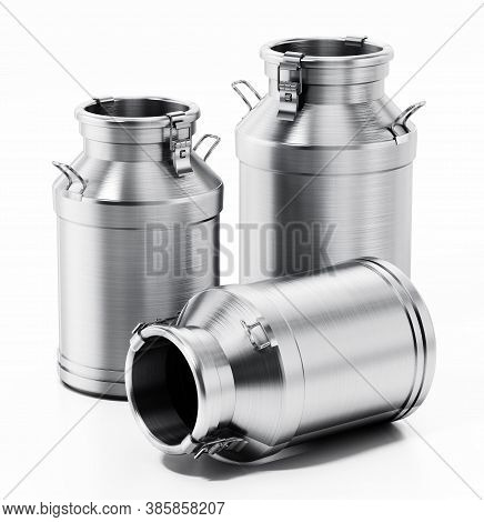 Metal Retro Milk Can Isolated On White Background. 3d Illustration.