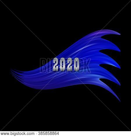 Modern Colorful Flow Poster. Wave Liquid Shape In Black Color Background. Art Design For Your Design