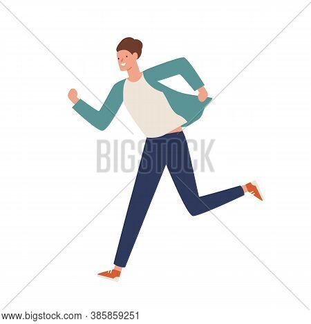 Smiling Casual Man Running Away Vector Flat Illustration. Happy Young Guy Hustle Or Hurry Isolated O