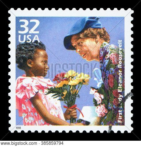 United States Of America - Circa 1998: A Postage Stamp Printed In Usa Showing An Image Of The First