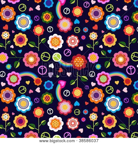 hippie peace floral background