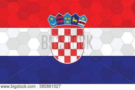 Croatia Flag Illustration. Futuristic Croatian Flag Graphic With Abstract Hexagon Background Vector.