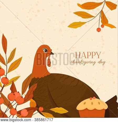 Happy Thanksgiving Day Vector Illustration. Autumn Background.
