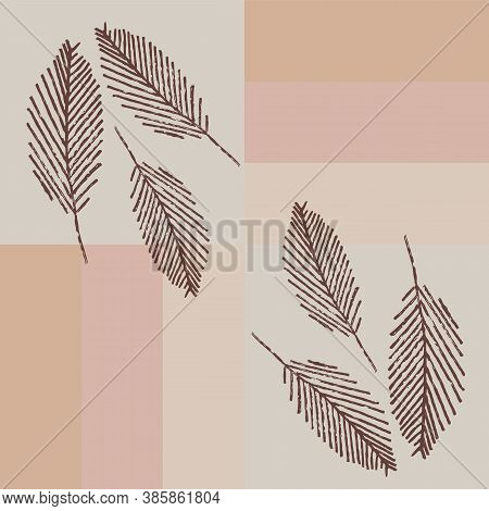 Mono Print Style Scattered Leaves Seamless Vector Pattern Background. Diagonal Lines Of Lino Cut Eff