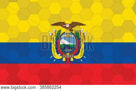 Ecuador Flag Illustration. Futuristic Ecuadorian Flag Graphic With Abstract Hexagon Background Vecto