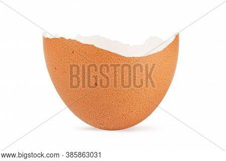 Broken Crack Egg Shell Isolated On White Background