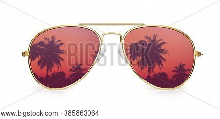 Aviator Sunglasses With Palm Tree Reflection