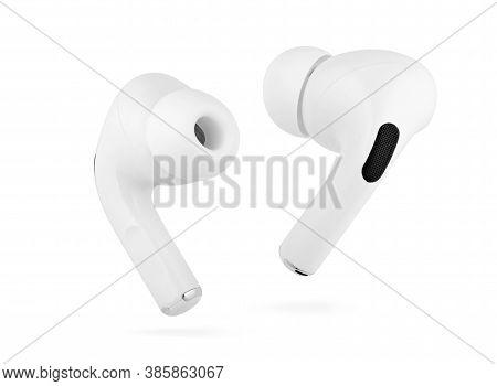 Wireless Earphones. Bluetooth Earbuds Or Headphones Isolated