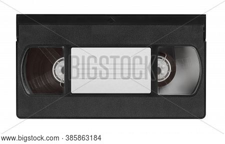 Old Video Cassette Tape With Blank Label Top View Isolated On White