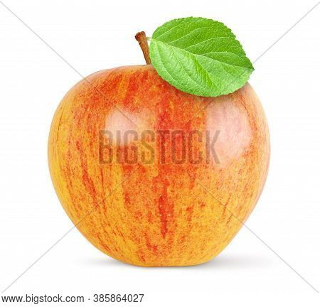 Red And Yellow Apple With Green Leaf Isolated. Clipping Path