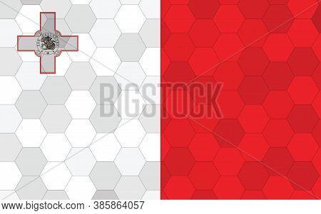Malta Flag Illustration. Futuristic Maltese Flag Graphic With Abstract Hexagon Background Vector. Ma