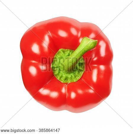 Red Bell Pepper Isolated On White Background With Clipping Path