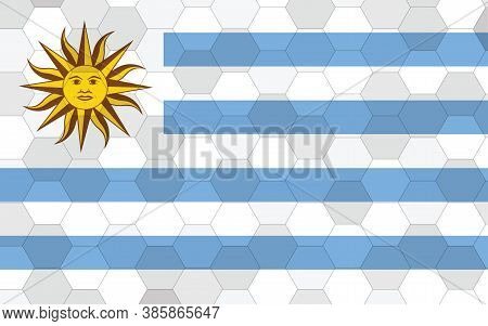 Uruguay Flag Illustration. Futuristic Uruguayan Flag Graphic With Abstract Hexagon Background Vector