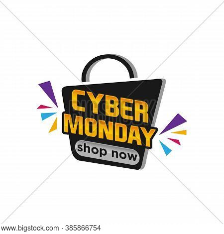 Template Design Geometric Web Banner For Cyber Monday Offer. Promotion Design In Glitch Style With G