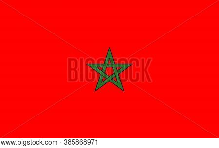 Vector Background Of Morocco Flag. National Flag Of Morocco. Vector Illustration.