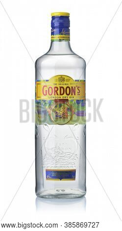 Samara, Russia - September 2020. Product shot of Original Gordon's London Dry Gin bottle isolated on white