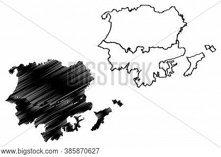 Santa Marta City (republic Of Colombia, Department Of Magdalena) Map Vector Illustration, Scribble S