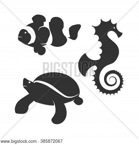 Animal Silhouette Set Collection - Chameleon, Kiwi Bird, Clown Fish, Seahorse, Dolphin, Turtle, Bird