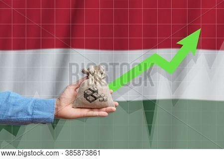 The Concept Of Economic Growth In Hungary. Hand Holds A Bag With Money And An Upward Arrow.