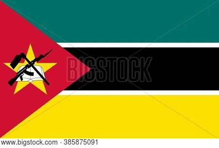 Flag Of Mozambique. Vector. Accurate Dimensions, Element Proportions And Colors