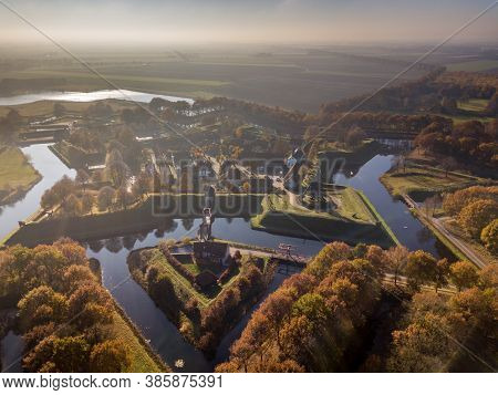 Aerial View Of Fortification Village Of Bourtange. This Is A Historic Star Shaped Fort In The Provin